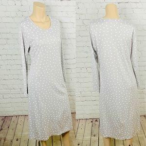 NWOT! Land's End Gray Polka Dot Supima Midi Dress